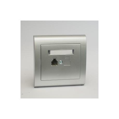 AURA Gniazdo telefoniczne RJ11 pojedyncze kolor srebro (GPT-1U.SR)