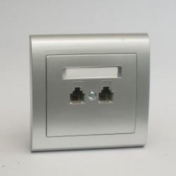 AURA Gniazdo telefoniczne RJ11 podwójne równoległe kolor srebro (GPT-2UR.SR)