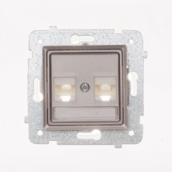 ROSA Gniazdo komputerowe RJ45 podwójne kat. 5e bez ramki, kolor tytanowy metalik GPK-2Q/F/M.TY