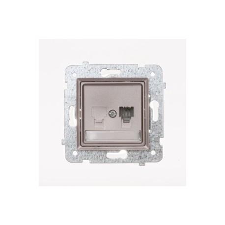 ROSA Gniazdo telefoniczne RJ11 pojedyncze bez ramki, kolor tytanowy metalik GPT-1Q/M.TY