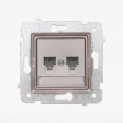 ROSA Gniazdo telefoniczne RJ11 podwójne niezależne bez ramki, kolor tytanowy metalik GPT-2QN/M.TY