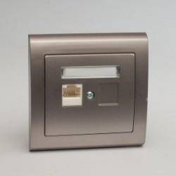 AURA Gniazdo komputerowe RJ45 pojedyncze kat. 5e kolor tytan (GPK-1U/F.TY)