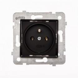 ROSA Gniazdo pojedyncze z uziemieniem bez ramki, kolor czarny mat GP-1QZ/M.CZ