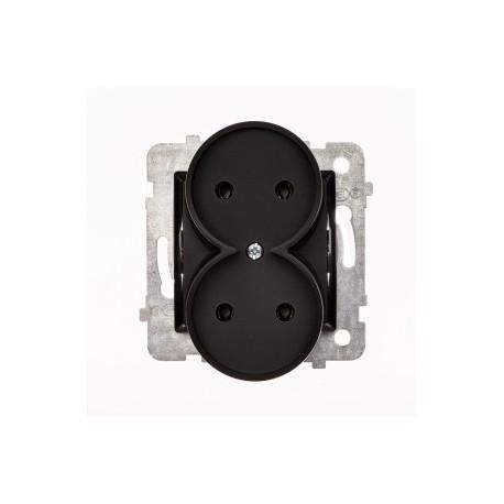 ROSA Gniazdo podwójne bez uziemienia bez ramki, kolor czarny mat GP-2Q/M.CZ