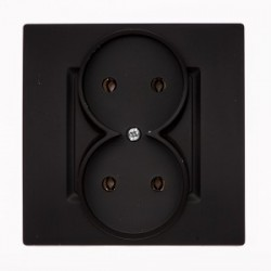 ROSA Gniazdo podwójne bez uziemienia kolor czarny mat GP-2Q.CZ