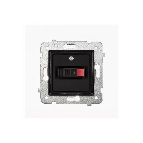 ROSA Gniazdo głośnikowe pojedyncze bez ramki, kolor czarny mat GG-1Q/M.CZ