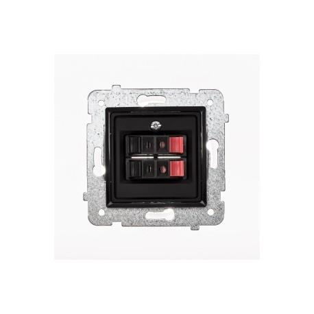 ROSA Gniazdo głośnikowe podwójne bez ramki, kolor czarny mat GG-2Q/M.CZ