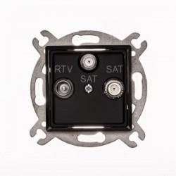 ROSA Gniazdo antenowe RTV-SAT-SAT końcowe bez ramki, kolor czarny mat GPA-Q2S/M.CZ