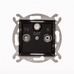 ROSA Gniazdo antenowe R-TV-SAT przelotowe bez ramki, kolor czarny mat GPA-QSP/M.CZ