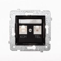 ROSA Gniazdo komputerowo RJ45 - telefoniczne RJ11 bez ramki, kolor czarny mat GPKT-1Q/F/M.CZ