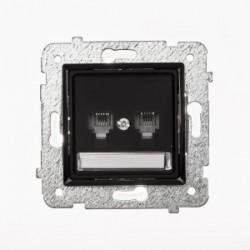 ROSA Gniazdo telefoniczne RJ11 podwójne niezależne bez ramki, kolor czarny mat GPT-2QN/M.CZ