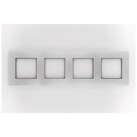 ROSA Ramka poczwórna uniwersalna, kolor srebrny metalik