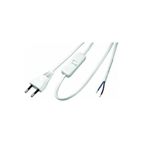 Przewód przyłączeniowy z wtyczką płaską z  łącznikiem  OMYp 2x0,75 1,6m kolor biały