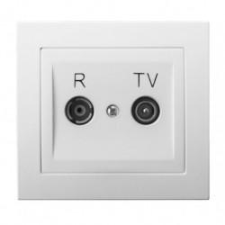 KIER Gniazdo RTV przelotowe 10-dB, kolor biały GPA-10WP/00