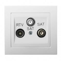 KIER Gniazdo RTV-SAT z dwoma wyjściami SAT, kolor biały GPA-W2S/00