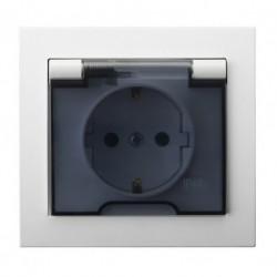 KIER Gniazdo bryzgoszczelne z uziemieniem schuko IP-44 wieczko przezroczyste, kolor biały GPH-1WS/00/d