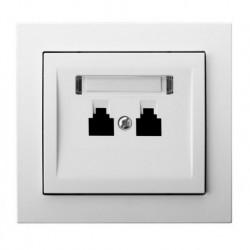 KIER Gniazdo telefoniczne podwójne równoległe, kolor biały GPT-2WR/00