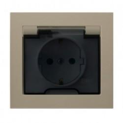 KIER Gniazdo bryzgoszczelne z uziemieniem schuko IP-44 wieczko przezroczyste, kolor beżowy GPH-1WS/01/d