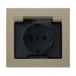 KIER Gniazdo bryzgoszczelne z uziemieniem schuko IP-44 z przesł. torów prąd. wieko przezroczyste, kolor beżowy GPH-1WSP/01/d