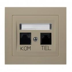 KIER Gniazdo komputerowo-telefoniczne RJ 45kat. 5e, (8-stykowe) + RJ 11 (6-stykowe), kolor beżowy GPKT-W/K/01
