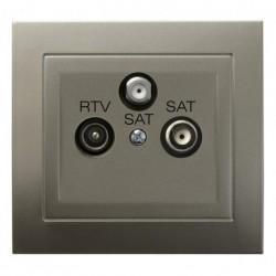 KIER Gniazdo RTV-SAT z dwoma wyjściami SAT, kolor satyna light GPA-W2S/45