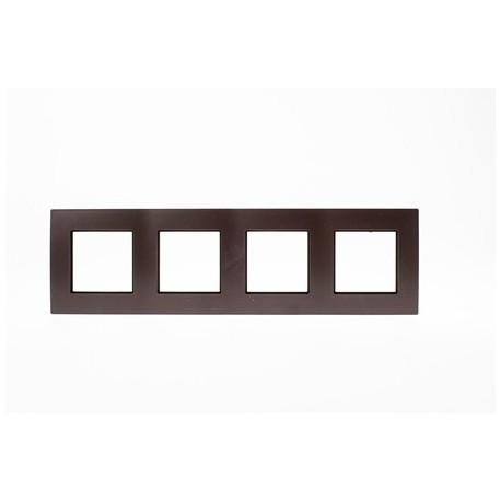 ROSA Ramka poczwórna uniwersalna, kolor czekoladowy mat
