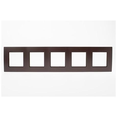ROSA Ramka pięciokrotna uniwersalna, kolor czekoladowy mat