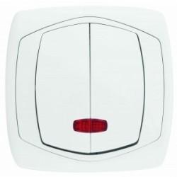 COMFORT Łącznik podwójny (świecznikowy) z podświetleniem kolor biały (ŁP-2XS.BI)