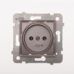 ROSA Gniazdo pojedyncze bez uziemienia bez ramki kolor tytanowy metalik GP-1Q/M.TY