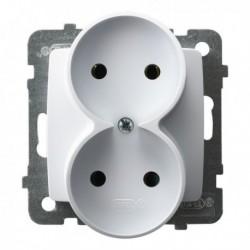 KARO Gniazdo podwójne, bez ramki, kolor biały GP-2SR/m/00