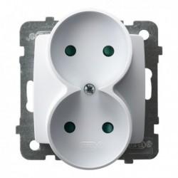 KARO Gniazdo podwójne z przesłonami torów prądowych, bez ramki, kolor biały GP-2SRP/m/00
