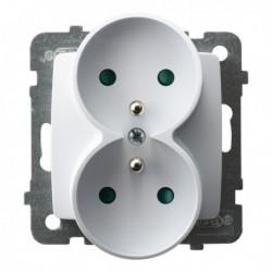 KARO Gniazdo podwójne z uziemieniemz przesłonami torów prądowych, bez ramki, kolor biały GP-2SRZP/m/00