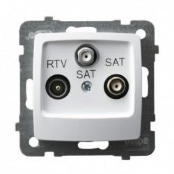 KARO Gniazdo RTV-SAT z dwoma wyjściami SAT, bez ramki, kolor biały GPA-S2S/m/00