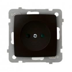 KARO Gniazdo pojedyncze z przesłonami torów prądowych, bez ramki, kolor czekoladowy metalik GP-1SP/m/40