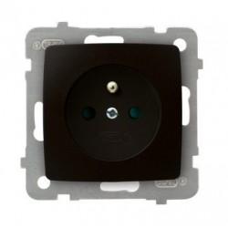 KARO Gniazdo pojedyncze z uziemieniem z przesłonami torów prądowych, bez ramki, kolor czekoladowy metalik GP-1SZP/m/40
