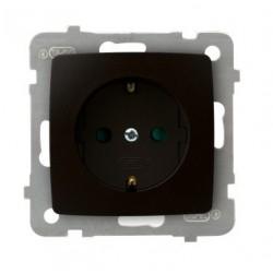 KARO Gniazdo pojedyncze z uziemieniem schukoz przesłonami torów prądowych, bez ramki, kolor czekoladowy metalik GP-1SSP/m/40