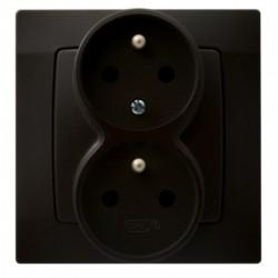KARO Gniazdo podwójne z funkcją niezamienności faz, kolor czekoladowy metalik GP-2SC/40 (sprzedawane w całości)