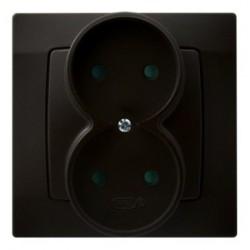 KARO Gniazdo podwójne z przesłonami torów prądowych, kolor czekoladowy metalik GP-2SP/40 (sprzedawane w całości)