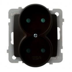 KARO Gniazdo podwójne z przesłonami torów prądowych, bez ramki, kolor czekoladowy metalik GP-2SRP/m/40