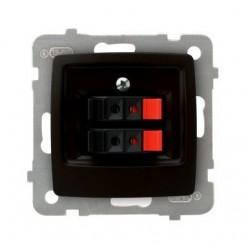 KARO Gniazdo głośnikowe podwójne, bez ramki, kolor czekoladowy metalik GG-2S/m/40