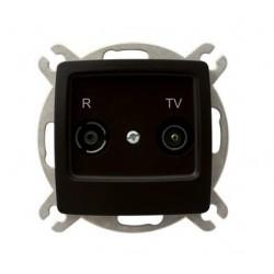 KARO Gniazdo RTV przelotowe 10-dB, bez ramki, kolor czekoladowy metalik GPA-10SP/m/40