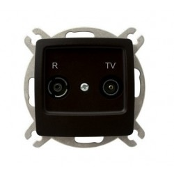 KARO Gniazdo RTV przelotowe 16-dB, bez ramki, kolor czekoladowy metalik GPA-16SP/m/40