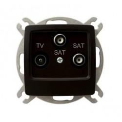 KARO Gniazdo RTV-SAT z dwoma wyjściami SAT, bez ramki, kolor czekoladowy metalik GPA-S2S/m/40