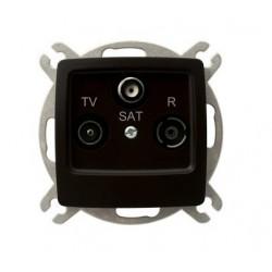 KARO Gniazdo RTV-SAT końcowe, bez ramki, kolor czekoladowy metalik GPA-SS/m/40