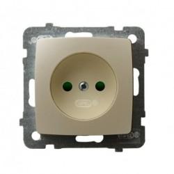 KARO Gniazdo pojedyncze z przesłonami torów prądowych, bez ramki, kolor ecru perłowy GP-1SP/m/42