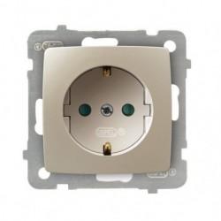 KARO Gniazdo pojedyncze z uziemieniem schuko z przesłonami torów prądowych, bez ramki, kolor ecru perłowy GP-1SSP/m/42