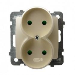 KARO Gniazdo podwójne z przesłonami torów prądowych, bez ramki, kolor ecru perłowy GP-2SRP/m/42