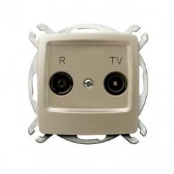 KARO Gniazdo RTV przelotowe 16-dB, bez ramki, kolor ecru perłowy GPA-16SP/m/42