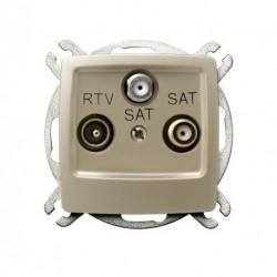 KARO Gniazdo RTV-SAT z dwoma wyjściami SAT, bez ramki, kolor ecru perłowy GPA-S2S/m/42