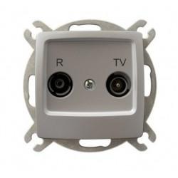 KARO Gniazdo RTV przelotowe 16-dB, bez ramki, kolor srebrny perłowy GPA-16SP/m/43